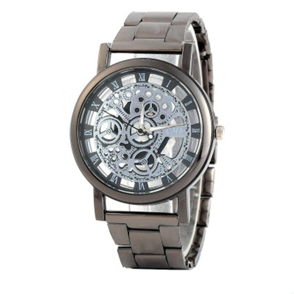 Skeleton Roman Numerals Hollow Dial Stainless Steel Band Mechanical Watch - BLACK