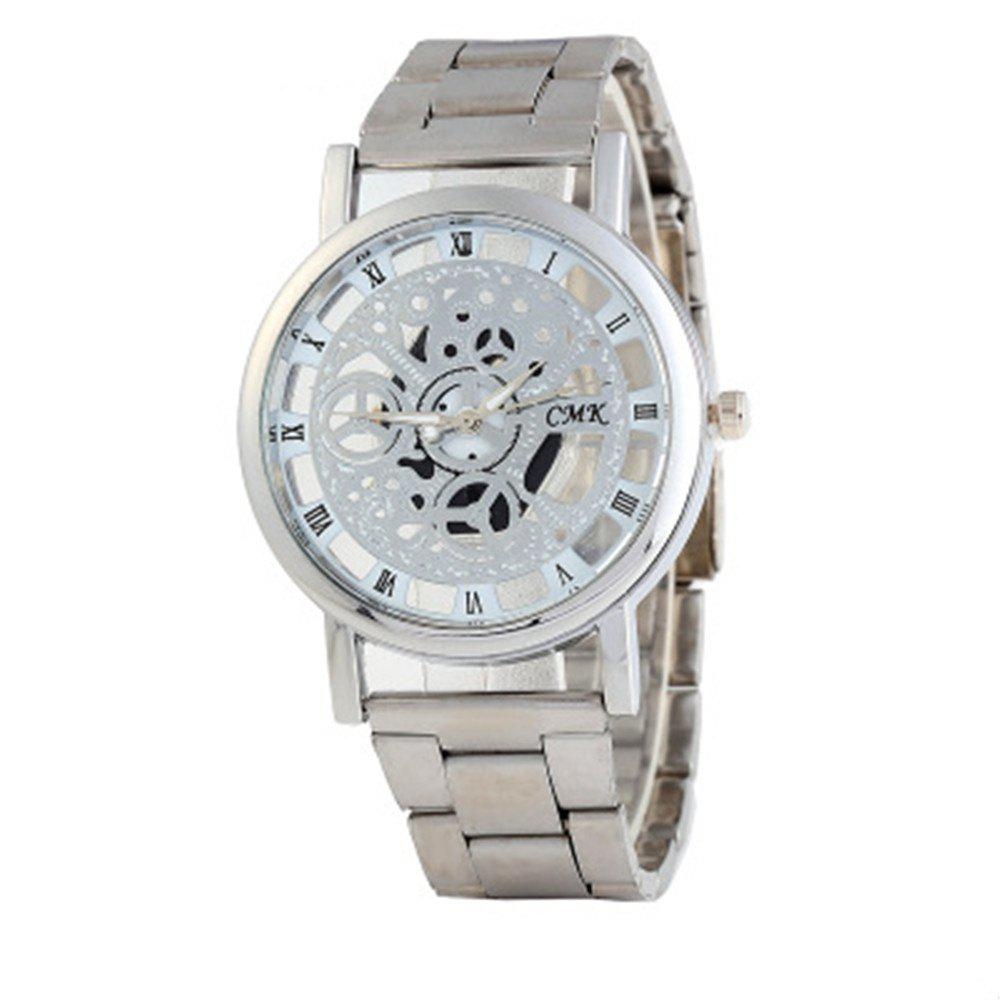 Skeleton Roman Numerals Hollow Dial Stainless Steel Band Mechanical Watch - SILVER