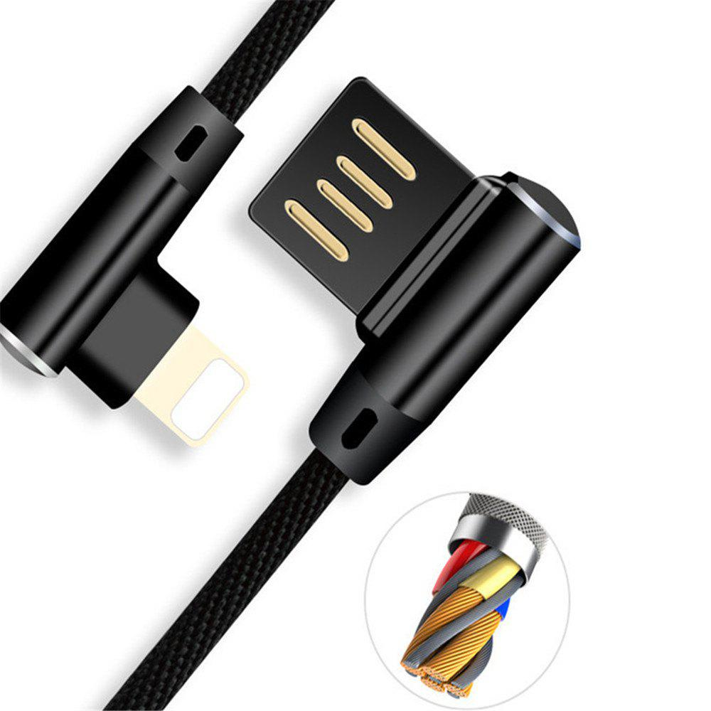 Iphone Double Bend Data Line - BLACK