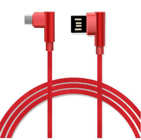 Type-C Double Bend Multi-Function Data Cable - RED