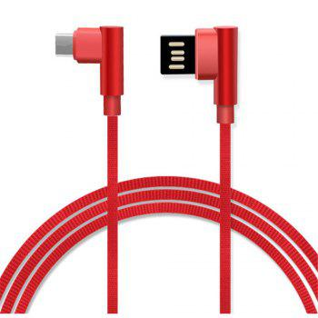 Type-C Double Bend Multi-Function Data Cable - RED RED