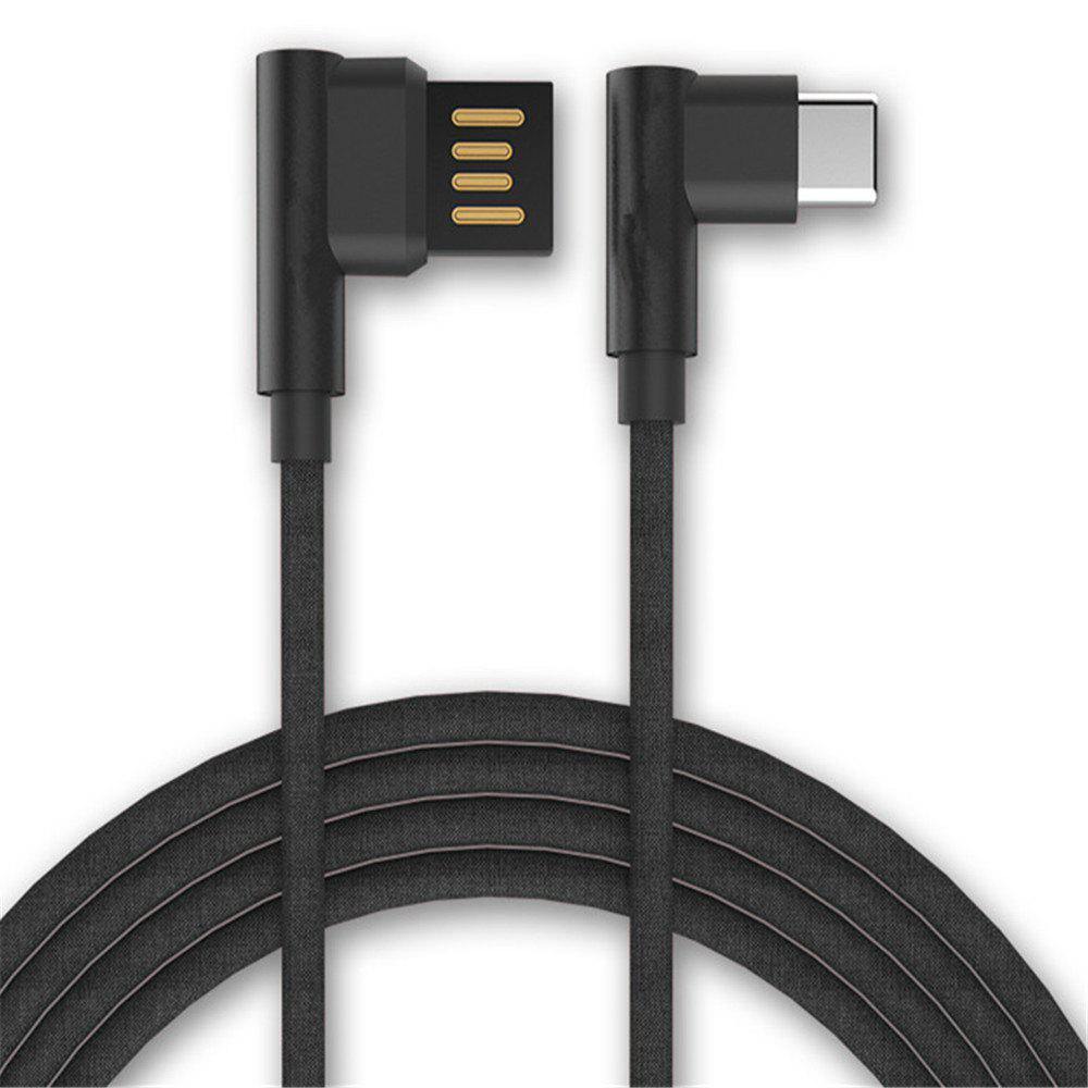 Type-C Double Bend Multi-Function Data Cable - BLACK