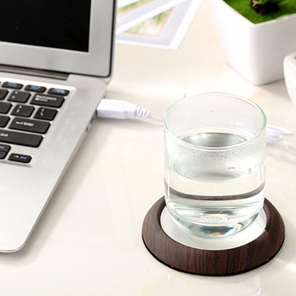 USB Charging Metal Wooden Cup Heating Cushion - BROWN 10.3X16CM