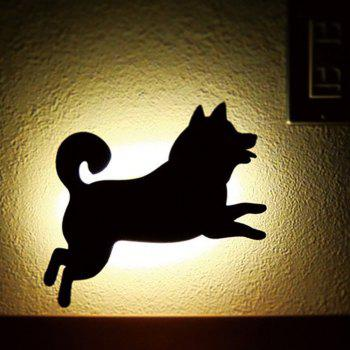 Optically Controlled Sound Control Running Dog Night Light Shadow LED Projection Lamp - BLACK 182X116MM