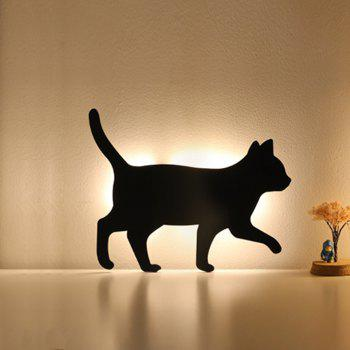 Optically Controlled Sound Control Walking Cat Night Light Shadow LED Projection Lamp - BLACK 215X165MM