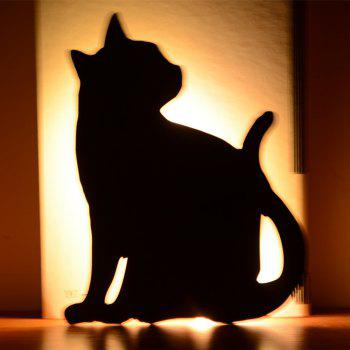 Optically Controlled Sound Control Cat Night Light Shadow LED Projection Lamp - BLACK BLACK