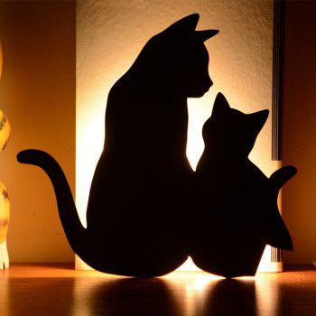 Optically Controlled Sound Control Mother Child Cat Night Light Shadow LED Projection Lamp - BLACK BLACK