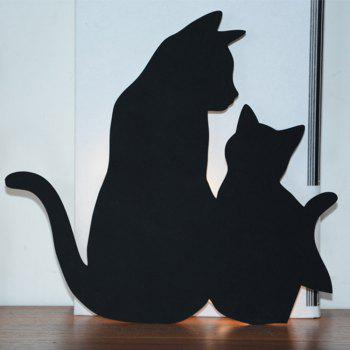 Optically Controlled Sound Control Mother Child Cat Night Light Shadow LED Projection Lamp - BLACK 210X190MM