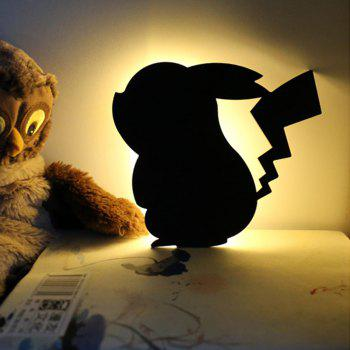 Optically controlled Sound Control Pikachu  Night Light Shadow LED Projection Lamp - BLACK BLACK