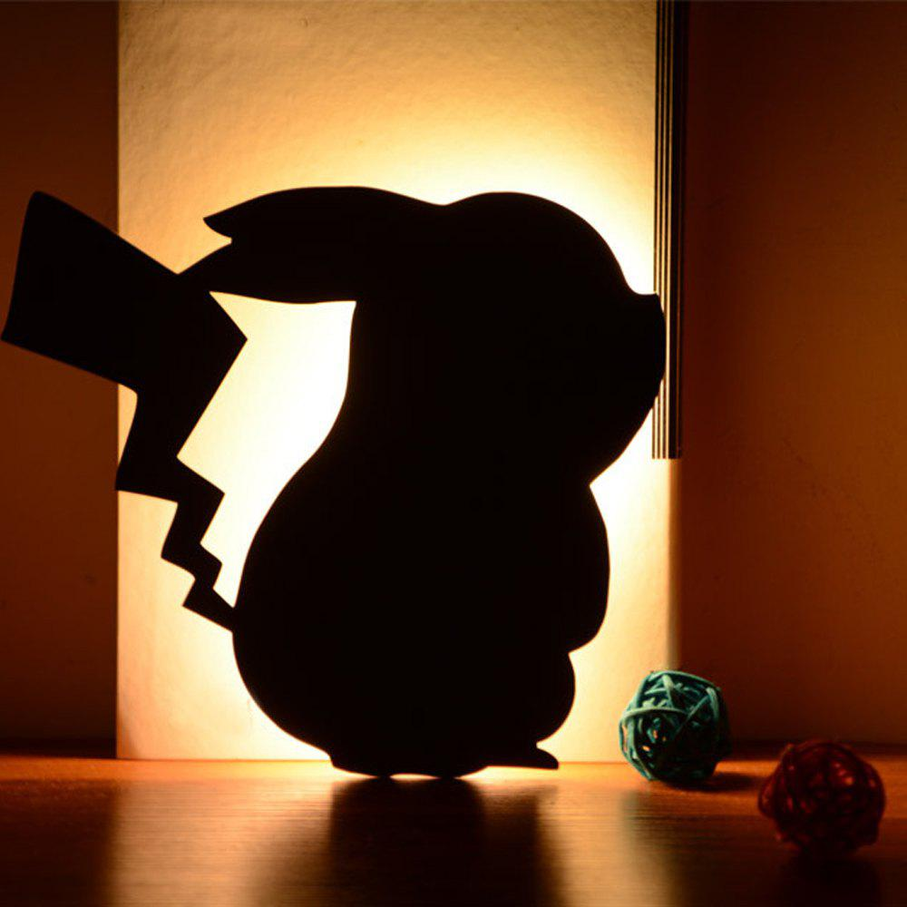 Optically controlled Sound Control Pikachu  Night Light Shadow LED Projection Lamp - BLACK 170X155MM