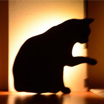 Optically Controlled Sound Control  Lick Hair Cat Night Light Shadow LED Projection Lamp - BLACK 165X145MM