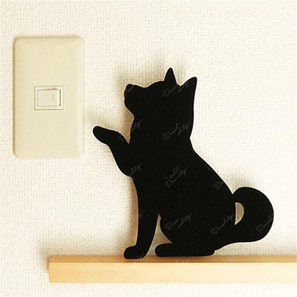 Optically controlled Sound Control Wave Dog  Night Light Shadow LED Projection Lamp - BLACK 157X167MM