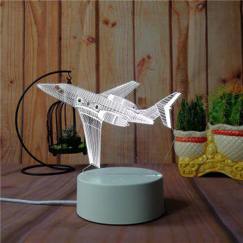 3D Airplane Small Night Light Plug LED Stereo Bedroom Bedside Lamp - WHITE WHITE