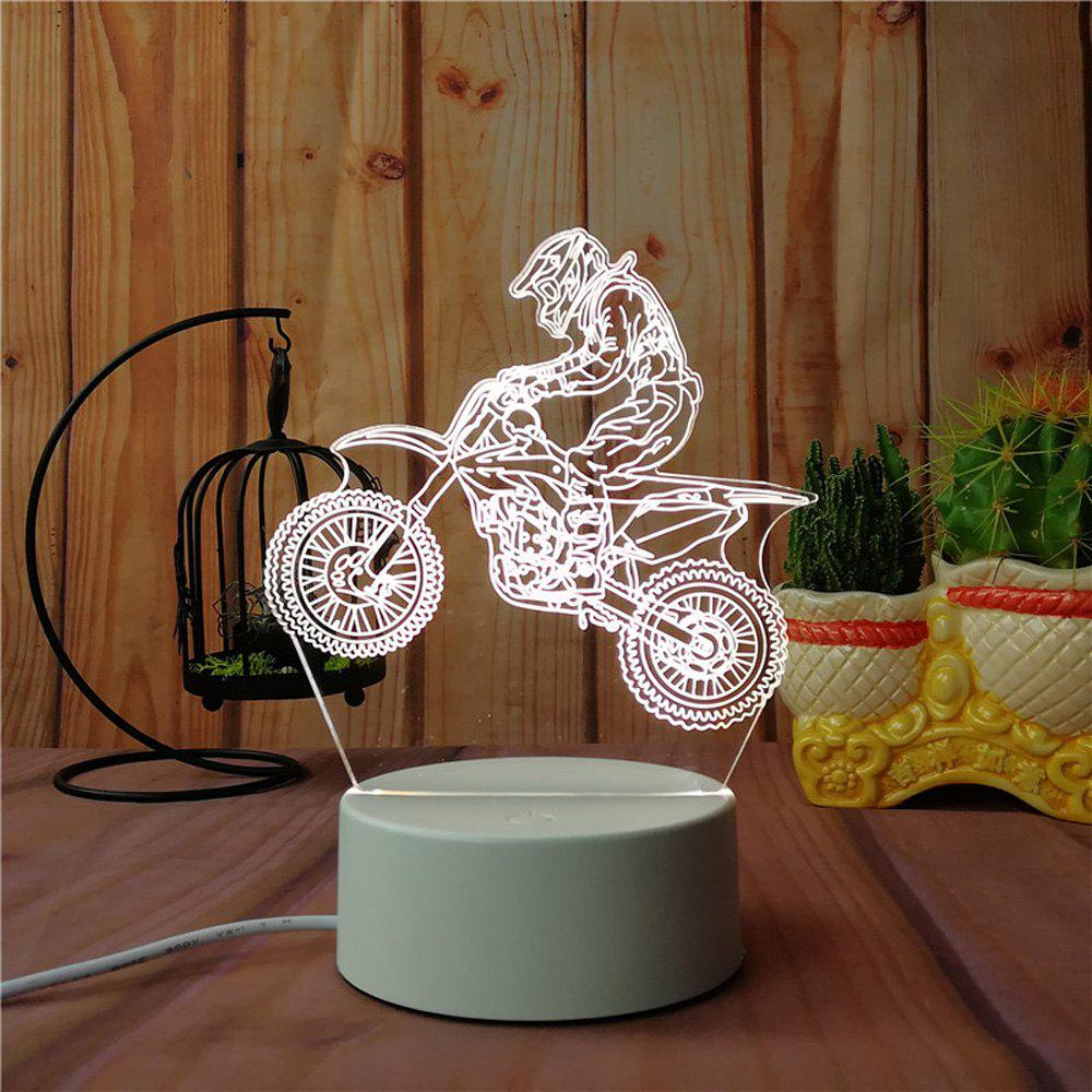 3D Road Motorcycle Small Night Light Plug LED Stereo Bedroom Bedside Lamp - WHITE 14.7X10X19.8CM