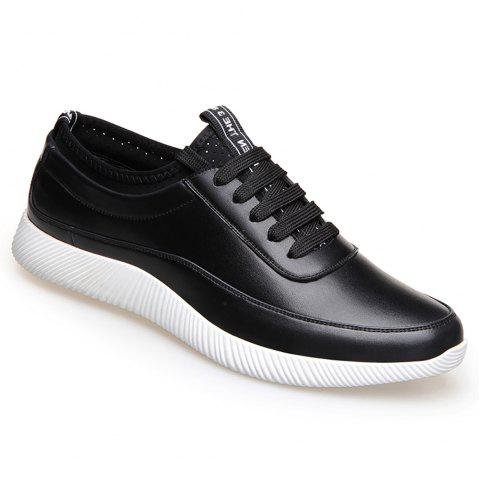 Fashion Casual Leather Shoes - BLACK 44