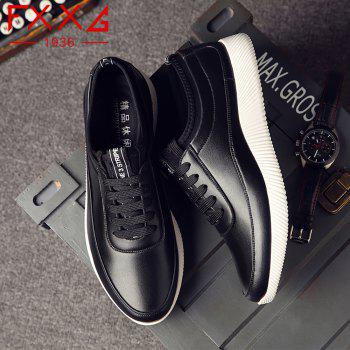 Fashion Casual Leather Shoes - BLACK 38