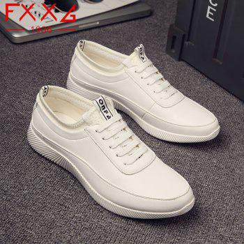 Fashion Casual Leather Shoes - WHITE 40