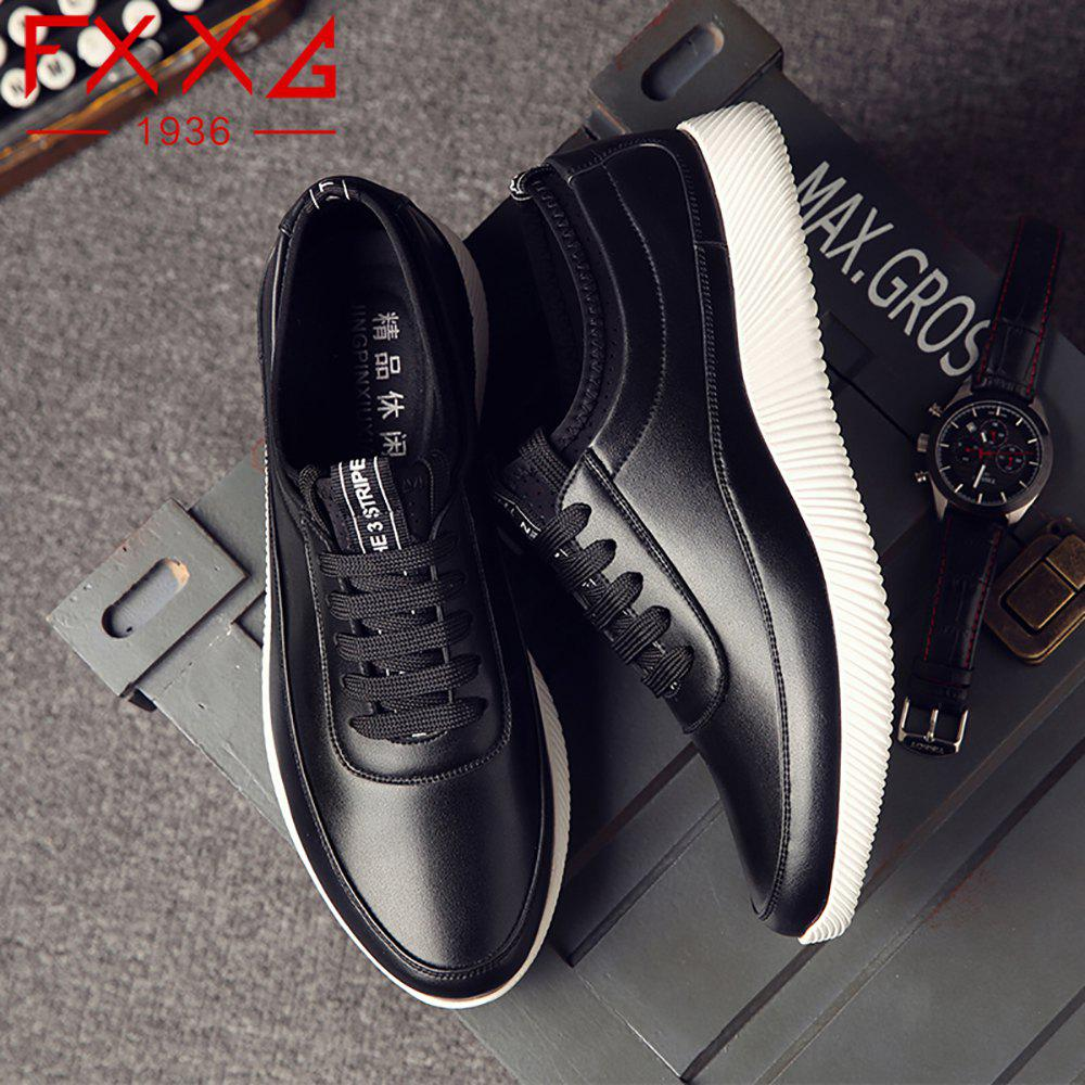 Fashion Casual Leather Shoes - BLACK 43