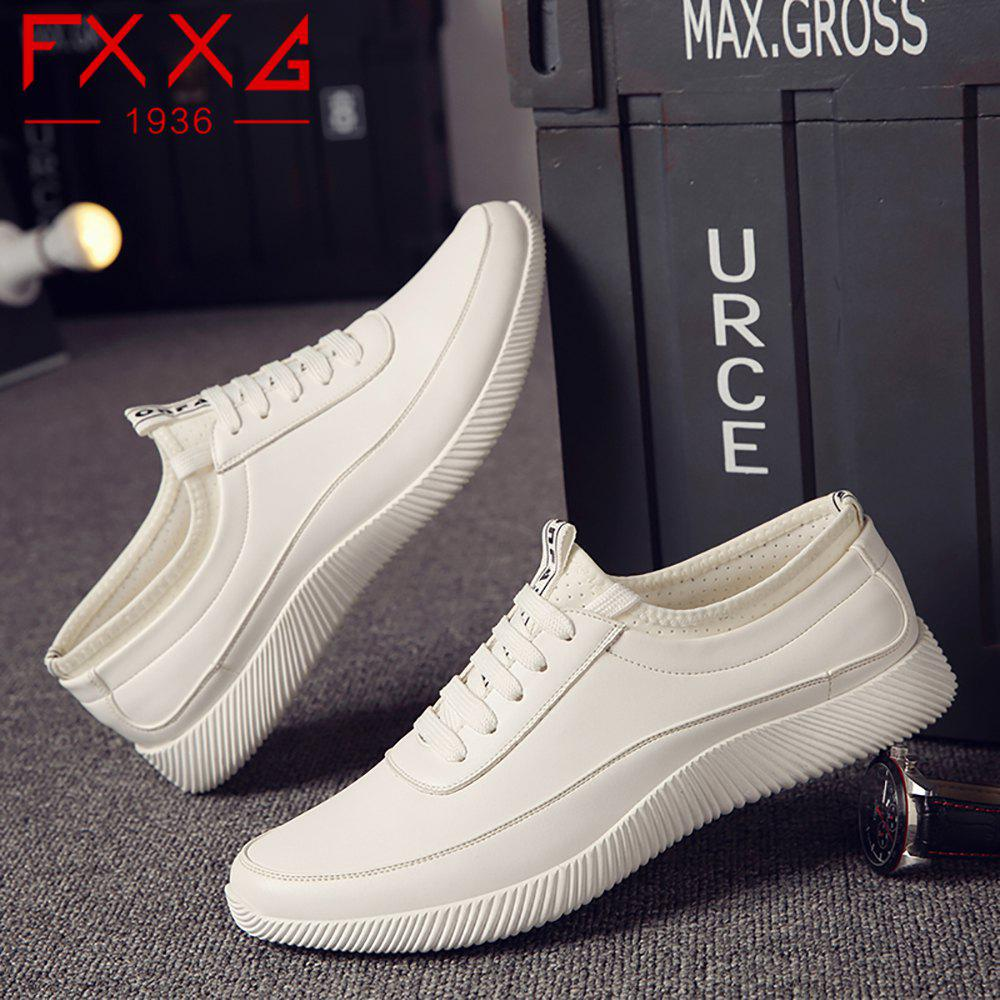Fashion Casual Leather Shoes - WHITE 41