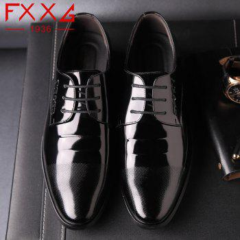 Leather Glossy Frenulum Shoe - BLACK 39