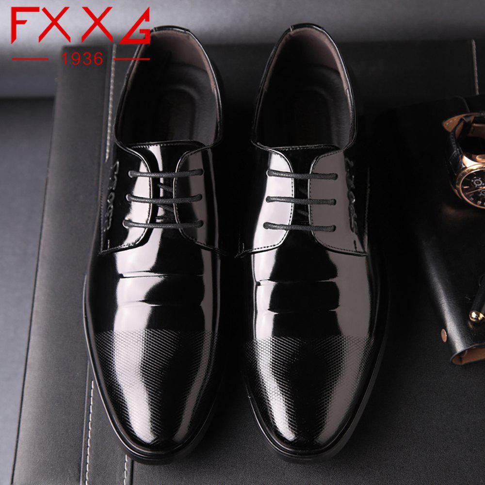 Leather Glossy Frenulum Shoe - BLACK 40