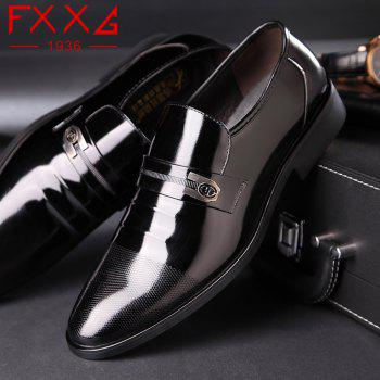 Leather Shoes Business Formal Dress - BLACK 42