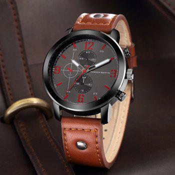 Men Leather Band Casual Fashion Wrist Quartz Watch for Dressing - BROWN 1PC