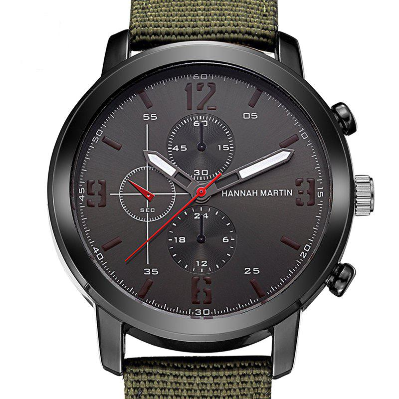 Men Leather Band Casual Fashion Wrist Quartz Watch for Dressing - ARMYGREEN 1PC