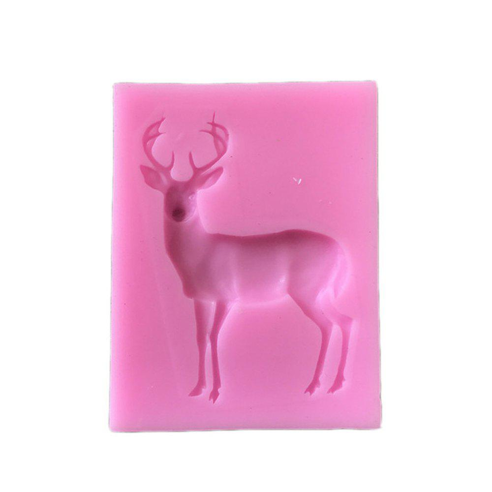 2 Pcs Silicone Molds Reindeer Form Christmas Deer Sugar Fondant Cake Decorating Mold Gumpaste Chocolate Kitchen Baking - PINK