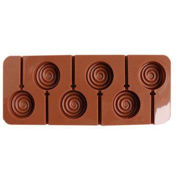 2 Pcs Candy Lollipop Mold 6 Hole Donuts Shape Silicone Lollipop Cake With Chocolate Baking tools - BROWN BROWN