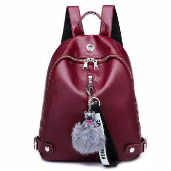 Knapsack Women's Casual Backpack with A Padded Ball with A Double Shoulder Backpack 208 - RED RED