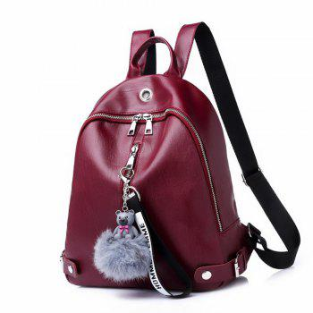 Knapsack Women's Casual Backpack with A Padded Ball with A Double Shoulder Backpack 208 - RED