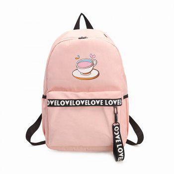 Women's Backpack Plain Style Glasses Print Stylish All Match Travel Back Bag - PINK PINK