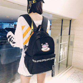 Women's Backpack Plain Style Glasses Print Stylish All Match Travel Back Bag - BLACK