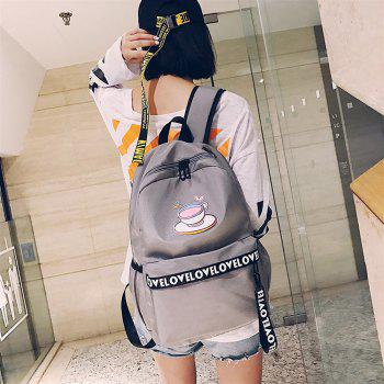 Women's Backpack Plain Style Glasses Print Stylish All Match Travel Back Bag - GRAY