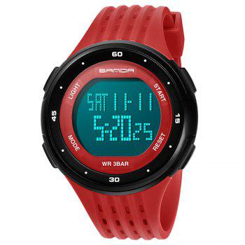Sanda 338 1296 Sports Fashion Trend Outdoor Sports Band Calendar Multi-Functional Silicone Strap Man Waterproof Watch - RED