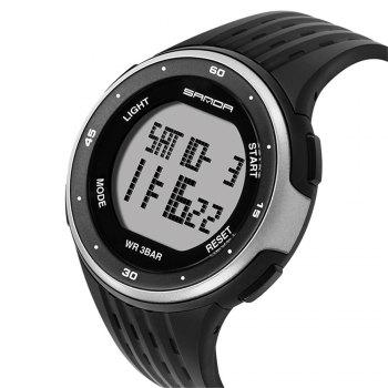 Sanda 338 1296 Sports Fashion Trend Outdoor Sports Band Calendar Multi-Functional Silicone Strap Man Waterproof Watch - BLACK WHITE