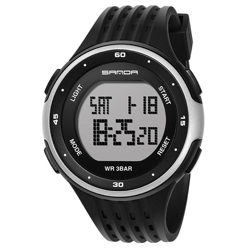 Sanda 338 1296 Sports Fashion Trend Outdoor Sports Band Calendar Multi-Functional Silicone Strap Man Waterproof Watch - BLACK / SILVER