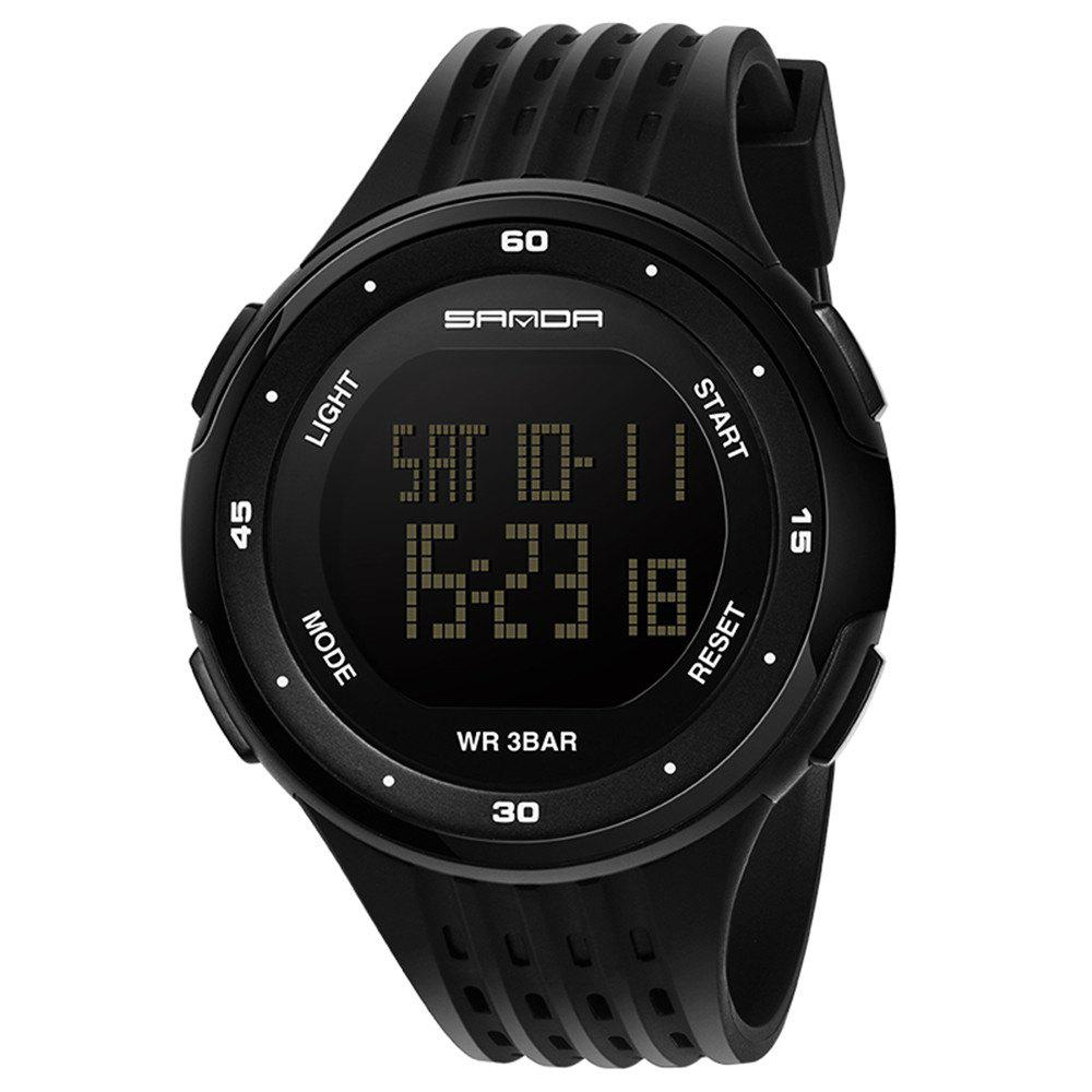 Sanda 338 1296 Sports Fashion Trend Outdoor Sports Band Calendar Multi-Functional Silicone Strap Man Waterproof Watch - BLACK