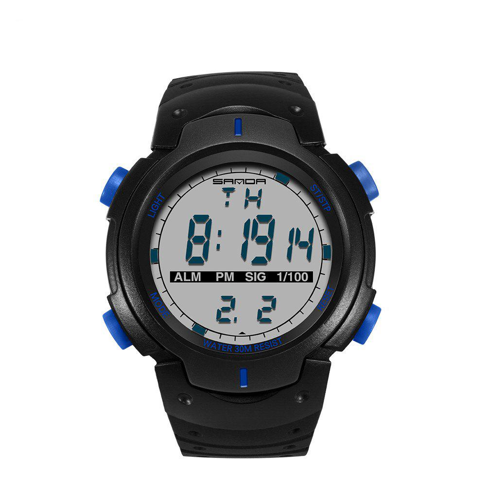 Sanda 269 1297 Outdoor Fashion Trend Multi Functional Silicone Belt Waterproof Watch - BLUE