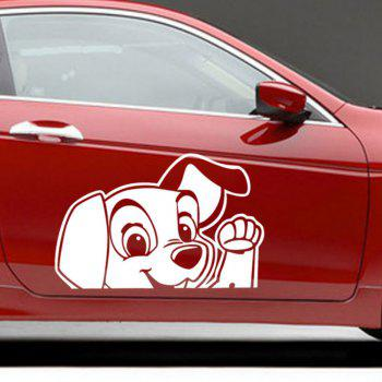 Cartoon Animals Cute Dog Car Sticker Dog Say Hello Decals for Kids Nursey Room - WHITE 14 X 10 CM