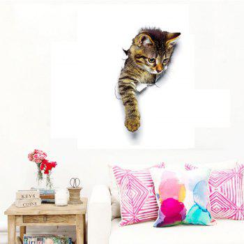 3D Cute Cats Wall Stickers for Kids Animals Cartoon Cats Decals for Nursery Room - MIXED COLOR MIXED COLOR