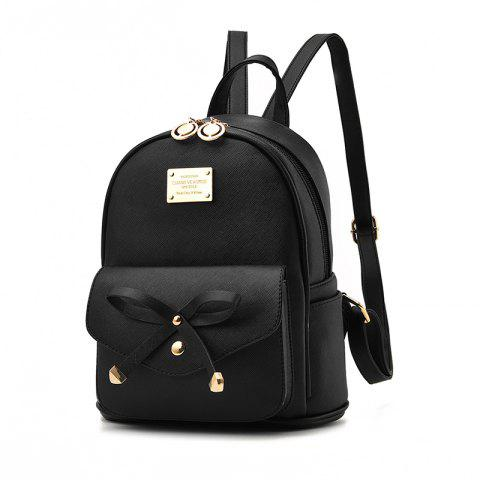 Women's Backpack Fashion Solid Color Zipper Casual Bag - BLACK