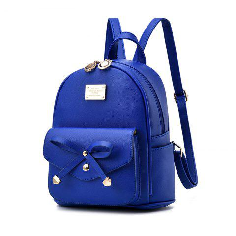 Women's Backpack Fashion Solid Color Zipper Casual Bag - DEEP BLUE