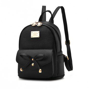 Women's Backpack Fashion Solid Color Zipper Casual Bag - BLACK BLACK