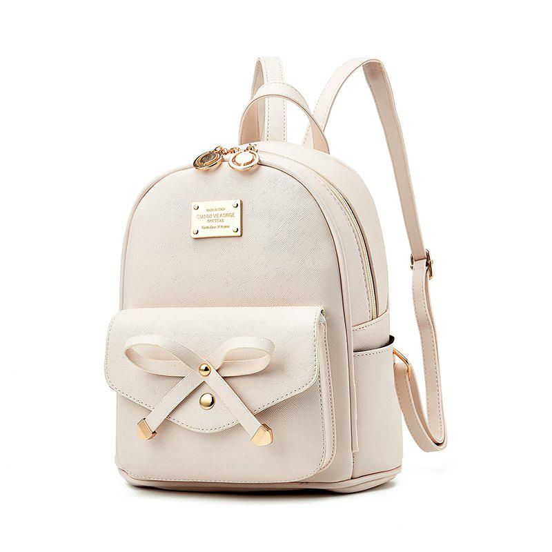 Women's Backpack Fashion Solid Color Zipper Casual Bag - WHITE