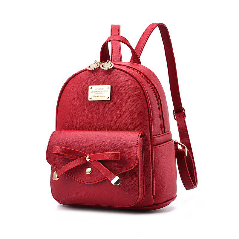 Women's Backpack Fashion Solid Color Zipper Casual Bag - WINE RED