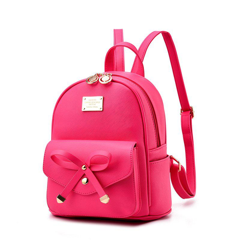 Women's Backpack Fashion Solid Color Zipper Casual Bag - ROSE RED