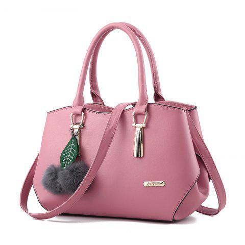 Women's Handbag Leaves Fur Ball Pendant Aodorable Solid Handbag - DEEP PINK