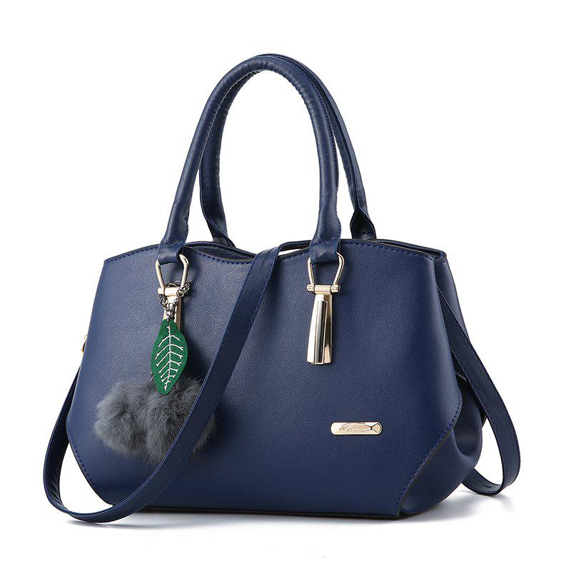 Women's Handbag Leaves Fur Ball Pendant Aodorable Solid Handbag - DEEP BLUE